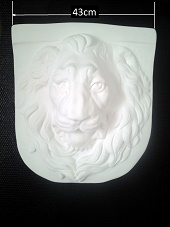 Tête de lion bas relief murale applique déco plâtre de moulage staff