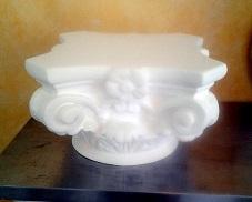 chapiteau tête colonne tronqué staff cannelée pilier platre socle sculpture deco art